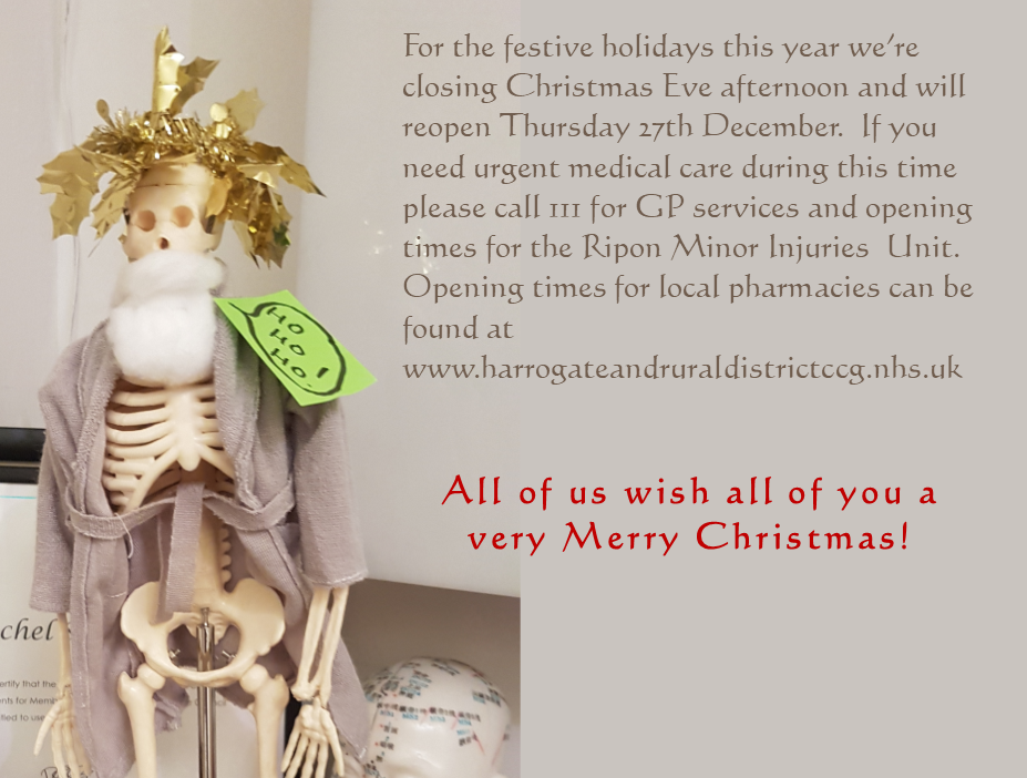 Merry Christmas from all of us at Ripon Natural Health Centre. Our opening times can be found on our contact us page.